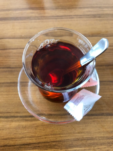 Warming up with a cup of Turkish çay in Çavdır on the Lycian Way