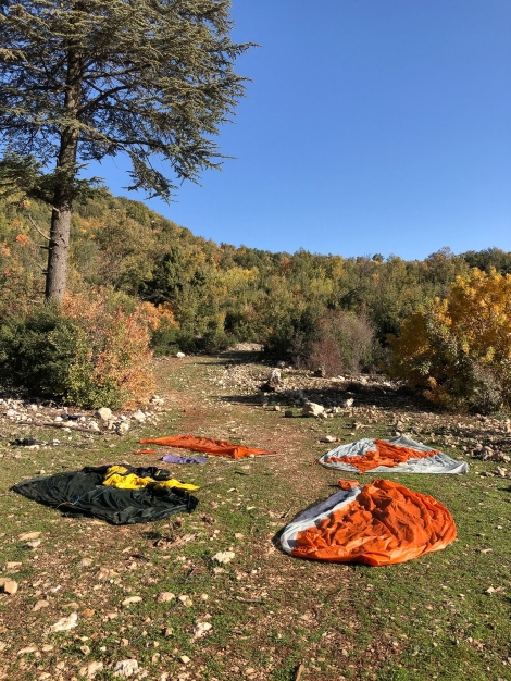 Drying out our tents on the Lycian Way