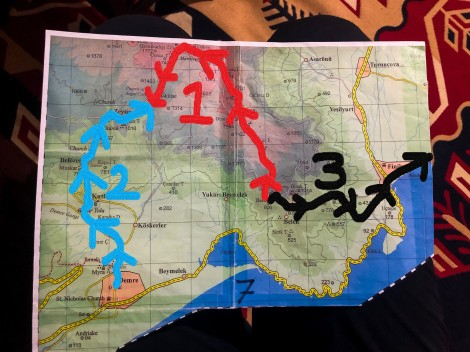 Our plan to tackle the mountain section between Demre and Finike over the next three days