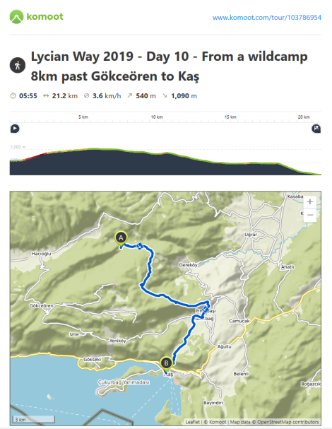 Lycian Way - route information by Komoot - day 10