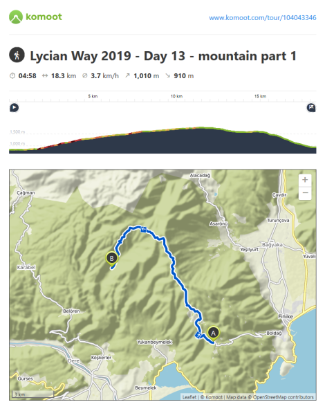 Lycian Way - route information by Komoot - day13