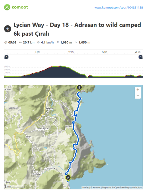 Lycian Way - route information by Komoot - day 18