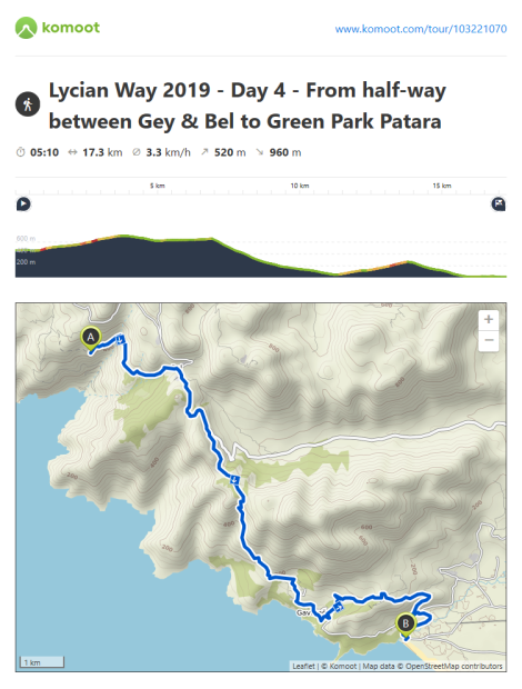 Lycian Way - route information by Komoot - day 4
