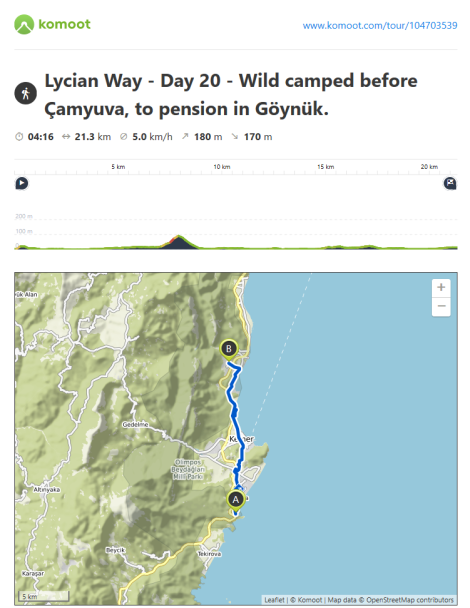 Lycian Way - route information by Komoot - day 20