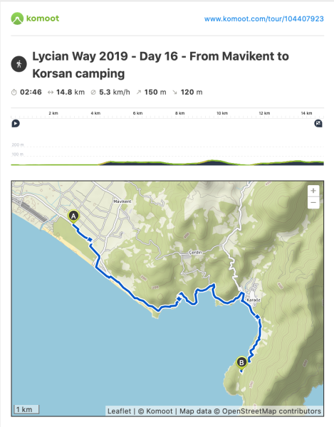 Lycian Way - route information by Komoot - day 16
